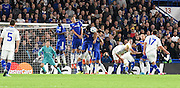 Chelsea stand tall to block Serhiy Rybalka's freekick during the Champions League group stage match between Chelsea and Dynamo Kiev at Stamford Bridge, London, England on 4 November 2015. Photo by Michael Hulf.