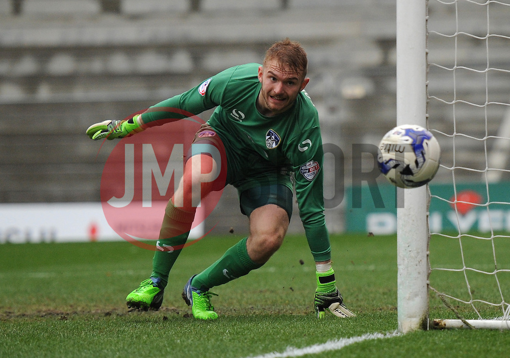 Oldham Athletic's Joel Coleman watches as the ball goes past his post - Photo mandatory by-line: Dougie Allward/JMP - Mobile: 07966 386802 - 03/04/2015 - SPORT - Football - Oldham - Boundary Park - Bristol City v Oldham Athletic - Sky Bet League One
