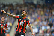 AFC Bournemouth's Callum Wilson celebrates his goal during the Barclays Premier League match between Bournemouth and Leicester City at the Goldsands Stadium, Bournemouth, England on 29 August 2015. Photo by Mark Davies.
