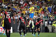 Brazil midfielder Casemiro (5) heads the ball against Peru during an international friendly soccer match, Tuesday, Sept. 10, 2019, in Los Angeles. Peru defeated Brazil 1-0.