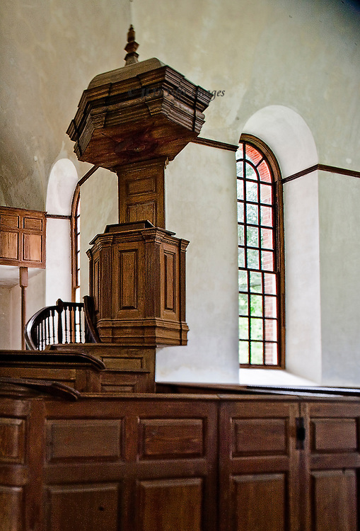 "Perfect American Georgian brick church, funded by Robert ""King"" Carter in 1735.  Central plan, carved walnut pews and pulpit.  Carfully preserved and devotedly maintained by a private organization.  Interior view of the spectacularly beautiful carved walnut pulpit."