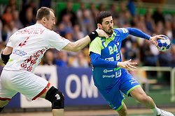 Mario Sostaric of Slovenia during friendly handball match between National teams of Slovenia and Belarus, on April 8, 2018 in Sports hall Tri Lilije, Lasko, Slovenia. Photo by Urban Urbanc / Sportida