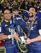 Patrick Osborne and Nasi Manu during the Super Rugby Final between the Hurricanes and Highlanders at Westpac Stadium in Wellington., New Zealand. Saturday 4 July 2015. Copyright Photo: Andrew Cornaga / www.Photosport.nz