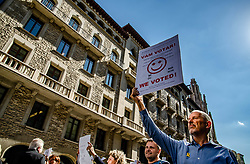 October 1, 2018 - Barcelona, Catalonia, Spain - Workers of the Statistics Department are seen during the demonstration..Thousands of students have demonstrated for the Catalan Republic celebrating the memory of the resistance of the past October 1, 2017 under the motto We will not forget, we will not forgive. (Credit Image: © Paco Freire/SOPA Images via ZUMA Wire)