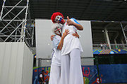 England and Slovakia fans on stilts during the Euro 2016 Group B match between Slovakia and England at Stade Geoffroy Guichard, Saint-Etienne, France on 20 June 2016. Photo by Phil Duncan.