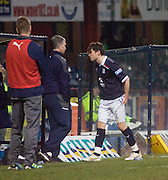 Dundee's Nicky Riley leaves the field with a hamstring injury - Dundee v Livingston, IRN BRU Scottish Football League, First Division at Dens Park - ..© David Young - .5 Foundry Place - .Monifieth - .Angus - .DD5 4BB - .Tel: 07765 252616 - .email: davidyoungphoto@gmail.com.web: www.davidyoungphoto.co.uk