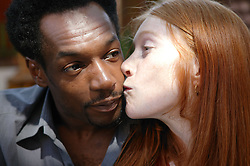 Portrait of multiracial couple outside in the sunshine,