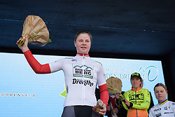 Lotte Kopecky is awarded the cobble-sprint jersey at Drentse 8 2017. A 143 km road race on March 12th 2017, starting and finishing in Dwingeloo, Netherlands. (Photo by Sean Robinson/Velofocus)