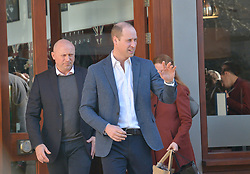 The Duke of Cambridge leaving Pall Mall Barbers in Paddington, west London, where he met members of the Lion Barbers Collective, who are raising awareness of suicide prevention through a programme called BarbersTalk.