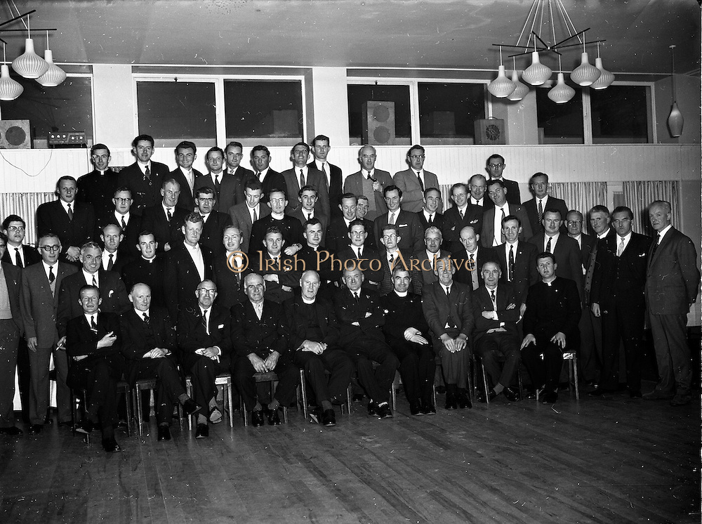 17/05/1962<br /> 05/17/1962<br /> 17 May 1962<br /> St. Brendan's College P.P.U. social function at the Grand Hotel, Malahide, Dublin. Pictured at the Past Pupils Union gathering were, front row (l-r): Mr J. Horgan; Mr J. Langford; Mr G. Stack; Mr M. O'Siocfradha; Bishop J.B. Houlihan, Bishop of Eldoret, Kenya, a past pupil; Mr T. Woulfe, Vice-Chairman; Fr. Finian Lynch, D.P.; Mr T. O'Brien; Mr. P. Minogue and Rev. Fr. M. Lambe, C.C..