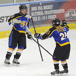 Staff photos by Tom Kelly IV<br /> East's Emily Tinguely (25) skates over to congratulate Katie Stueve (19) after Stueve scored one of her 5 goals during the Downingtown East vs Unionville girls Flyer's Cup Championship, Wednesday night March 19, 2014 at Ice Line in West Goshen.