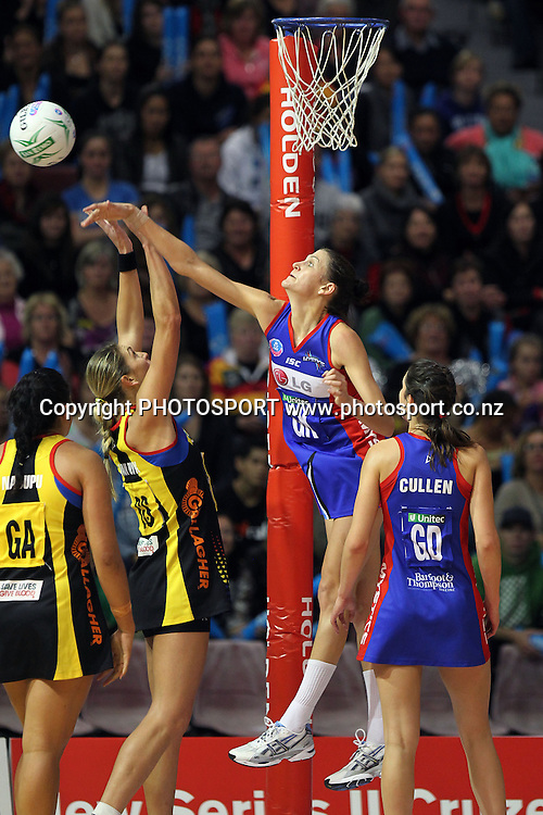 Mystics' Anna Scarlett rejects the shot from Magic's Irene Van Dyk. ANZ Netball Championship, Preliminary Final, Waikato/BOP Magic v LG Northern Mystics. Mystery Creek Events Centre, Hamilton, New Zealand. Sunday 15th May 2011. Photo: Anthony Au-Yeung / photosport.co.nz