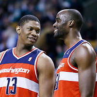 07 April 2013: Washington Wizards power forward Kevin Seraphin (13) talks to Washington Wizards center Emeka Okafor (50) during the Boston Celtics 107-96 victory over the Washington Wizards at the TD Garden, Boston, Massachusetts, USA.