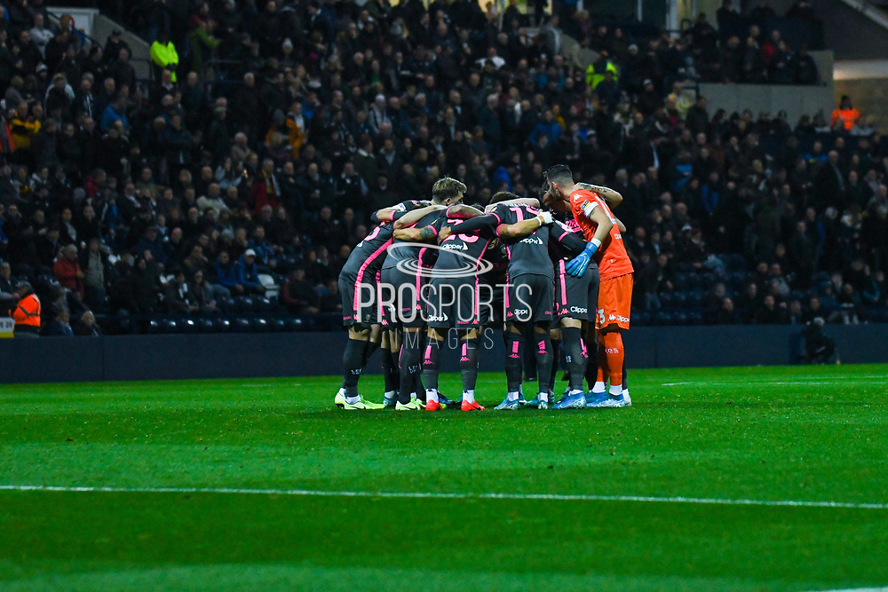 Leeds United players huddle during the EFL Sky Bet Championship match between Preston North End and Leeds United at Deepdale, Preston, England on 22 October 2019.