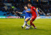 Gillingham's Aaron Simpson and Leyton Orient's James Dayton during the The FA Cup match between Gillingham and Leyton Orient at the MEMS Priestfield Stadium, Gillingham, England on 4 November 2017. Photo by John Marsh.