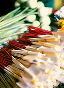 Incense and lotuses for offerings at a temple