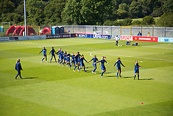 HAVERFORDWEST, WALES - Sunday, August 25, 2013: France players warm-up before the Group A match against Wales of the UEFA Women's Under-19 Championship Wales 2013 tournament at the Bridge Meadow Stadium. (Pic by David Rawcliffe/Propaganda)