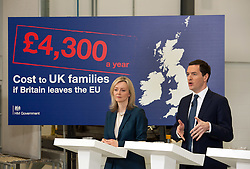 © Licensed to London News Pictures.18/04/2016. Bristol, UK.  National Composites Centre, Emersons Green. Picture of: Secretary of State for Environment, Food and Rural Affairs LIZ TRUSS, Chancellor GEORGE OSBORNE; Treasury Report event re the EU referendum and the cost to UK families of the UK leaving the EU, with Chancellor George Osborne, Secretary of State for Energy and Climate Change Amber Rudd, Secretary of State for Environment, Food and Rural Affairs Liz Truss, and Secretary of State for Work and Pensions Stephen Crabb. Photo credit : Simon Chapman/LNP