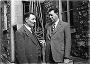 Deputy Dan Spring (right) (North Kerry) at Dail.22/10/1952