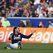 Jermaine Jones, New England Revolution, reacts after a challenge during the New York Red Bulls Vs New England Revolution, MLS Eastern Conference Final, first leg at Red Bull Arena, Harrison, New Jersey. USA. 23rd November 2014. Photo Tim Clayton