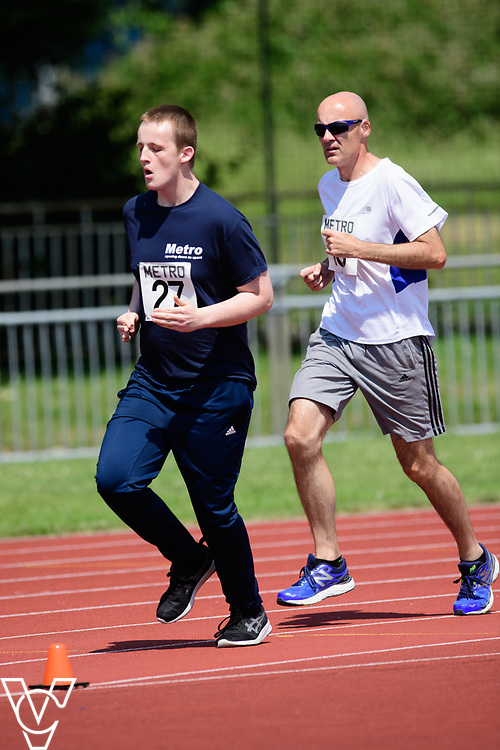 Metro Blind Sport's 2017 Athletics Open held at Mile End Stadium.  800m.  Harrison Lovett, left, and David Beynon<br /> <br /> Picture: Chris Vaughan Photography for Metro Blind Sport<br /> Date: June 17, 2017