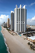 Aerial portrait of Trump Palace as viewed from the north in Sunny Isles Beach Florida