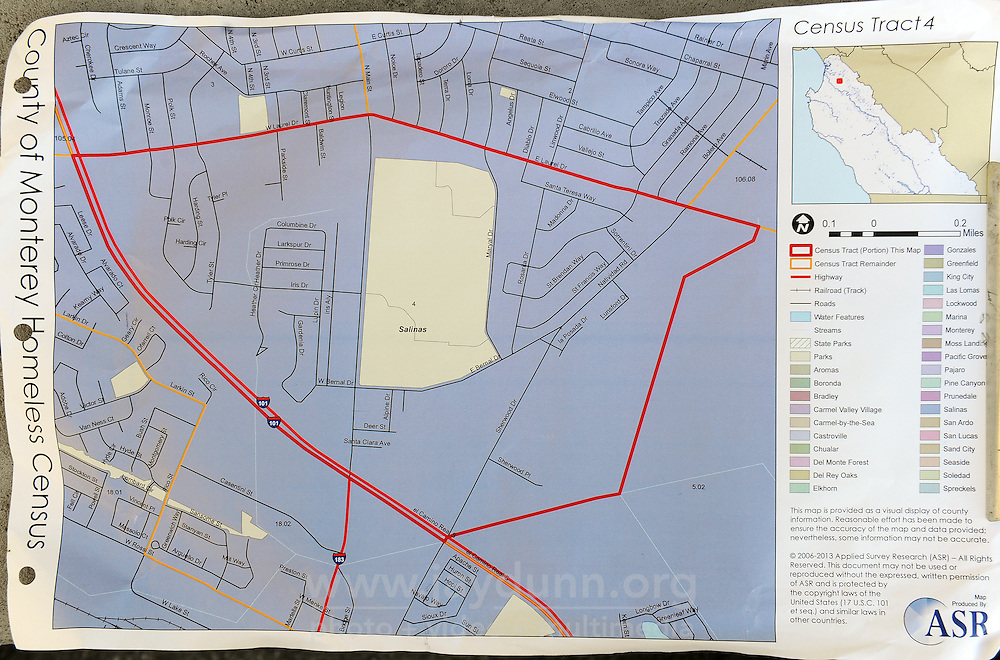 """Census Tract 4, the area covered by guide Diana Soto and volunteer Javier Celedon during Wednesday's morning's """"2015 Homeless Point-in-Time Census and Survey."""""""