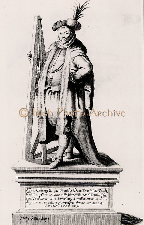 Tycho Brahe holding a sextant. Engraving from his 'Historia Coelestis' (1666). Tycho Brahe (Tyge Ottesen Brahe - 1546-1601) Danish astronomer, astrologer and alchemist who built astronomical instruments which enabled him to make the most accurate observations of his time.