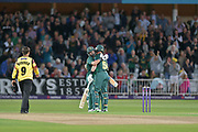 Steven Mullaney and Dan Christian celebrate victory in the NatWest T20 Blast Quarter Final match between Notts Outlaws and Somerset County Cricket Club at Trent Bridge, West Bridgford, United Kingdom on 24 August 2017. Photo by Simon Trafford.