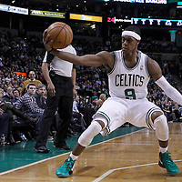 06 March 2012: Boston Celtics point guard Rajon Rondo (9) saves the ball during the Boston Celtics 97-92 (OT) victory over the Houston Rockets at the TD Garden, Boston, Massachusetts, USA.