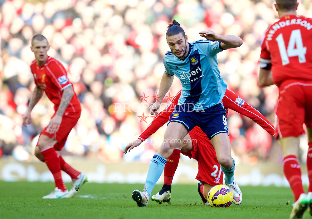 LIVERPOOL, ENGLAND - Saturday, January 31, 2015: West Ham United's Andy Carroll in action against Liverpool during the Premier League match at Anfield. (Pic by David Rawcliffe/Propaganda)