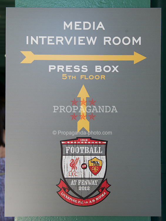 BOSTON, MA - Wednesday, July 25, 2012: A crest advertising Liverpool's match against AS Roma before a pre-season friendly game at Fenway Park, home of the Boston Red Sox, the second match of the Reds' North American tour. (Pic by David Rawcliffe/Propaganda)