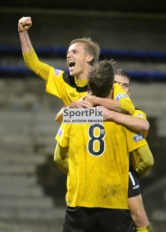 Livingston's Rory Boulding celebrates with teammate Bobby Barr after scoring Livingston's 2nd goal in the Irn Bru SFL First Division match against Raith Rovers at Stark's Park, Kirkcaldy on 10th April 2012.