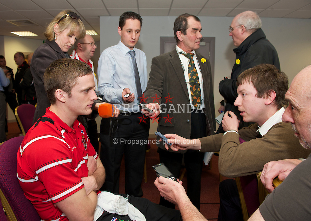 SWANSEA, WALES - Monday, March 1, 2010: Wales' Andy King speaks to the press after training at the Liberty Stadium ahead of the international friendly match against Sweden. (Photo by David Rawcliffe/Propaganda)