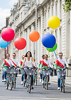 No repro fee<br /> 20/7/2017<br /> **Dublin City Council and JCDecaux Ireland announced today, 20th July 2017, that Just Eat will become the new commercial partner of dublinbikes in a three-year agreement.<br /> Under the new agreement the scheme will be known as Just Eat dublinbikes ***<br /> Picture shows ( centre,at front ) Amanda Roche Kelly Managing Director, Just Eat Ireland;with Just Eat dublin bikers as the Just Eat dublinbikes were unveiled at an announcement at Merrion Square today. The new look branded bikes will be visible on the streets of Dublin from the end of August.&nbsp; In addition to the livery of the bikes, the docking station screens, service vehicles, staff uniforms and associated inventory will all also be rebranded as Just Eat dublinbikes.Pic:Naoise Culhane-no fee