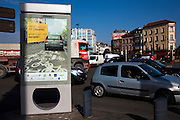 Cycling in Brussels: Advertisement appearing to drivers to make space for cyclists on a busy junction at Place d'Europe, near Gare du Midi - a pretty dangerous place for cyclists.  In December 2012, a project was proposed with almost 400km of cycling infrastructure for a better connection between Flemish communes and the city of Brussels - one of Europe's most congested and bike-unfriendly cities.