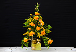 © Licensed to London News Pictures.12/08/15<br /> Danby, UK. <br /> <br /> An arrangement of flowers is displayed on a table ahead of judging at the 155th Danby Agricultural Show in the Esk Valley in North Yorkshire. <br /> <br /> The popular agricultural show attracts competitors and visitors from all over the surrounding area to this annual showcase of country life. <br /> <br /> Photo credit : Ian Forsyth/LNP
