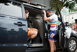 UCI Women's World Tour leader, Megan Guarnier (USA) of Boels-Dolmans Cycling Team prepares for the Philadelphia International Cycling Classic, a 117.8 km road race in Philadelphia on June 5, 2016 in Philadelphia, PA.