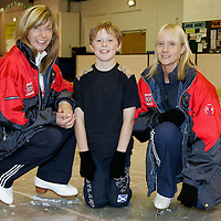 9 year old Rory Ross-Docherty from Blairgowrie who came second in the British Solo Ice Dance Championships. Rory is pictured at the Dewars Ice Rink in Perth with his coaches, on the left is Jackie Coubrough, (figure coach) and Melanie Doyle (Ice Dance Coach)<br /><br />Picture by Graeme Hart.<br />Copyright Perthshire Picture Agency<br />Tel: 01738 623350  Mobile: 07990 594431