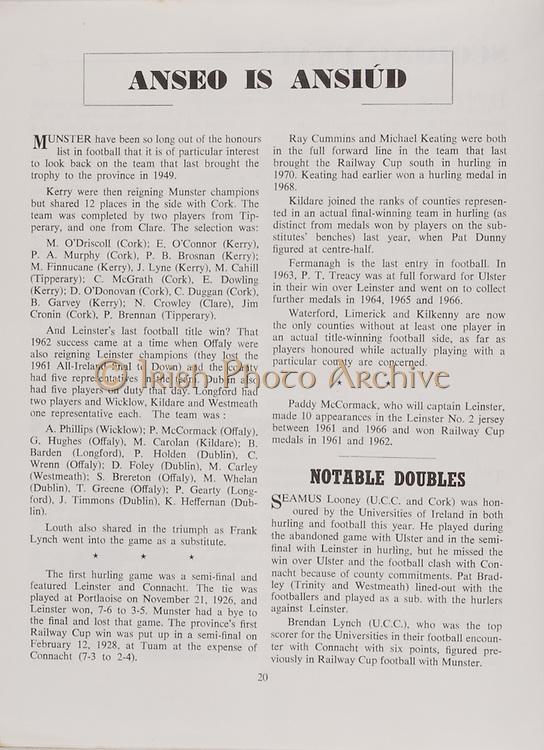 Interprovincial Railway Cup Football Final.Croke Park, Dublin.17.03.1972 .17th March 1972,.Leinster v. Munster
