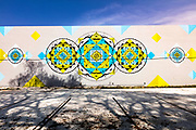 Cosmic, Buddhist-style mandalas on a mural in Miami's Wynwood art district.