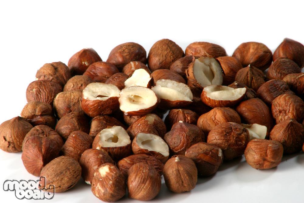 Hazelnuts on white background - studio shot