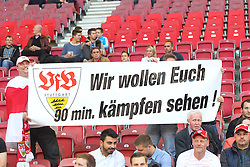 "09.05.2015, Mercedes Benz Arena, Stuttgart, GER, 1. FBL, VfB Stuttgart vs 1. FSV Mainz 05, 32. Runde, im Bild VfB Fans mit Banner ""Wir wollen euch Kaempfen sehen !"" // during the German Bundesliga 32th round match between VfB Stuttgart and 1. FSV Mainz 05 at the Mercedes Benz Arena in Stuttgart, Germany on 2015/05/09. EXPA Pictures © 2015, PhotoCredit: EXPA/ Eibner-Pressefoto/ Langer<br /> <br /> *****ATTENTION - OUT of GER*****"