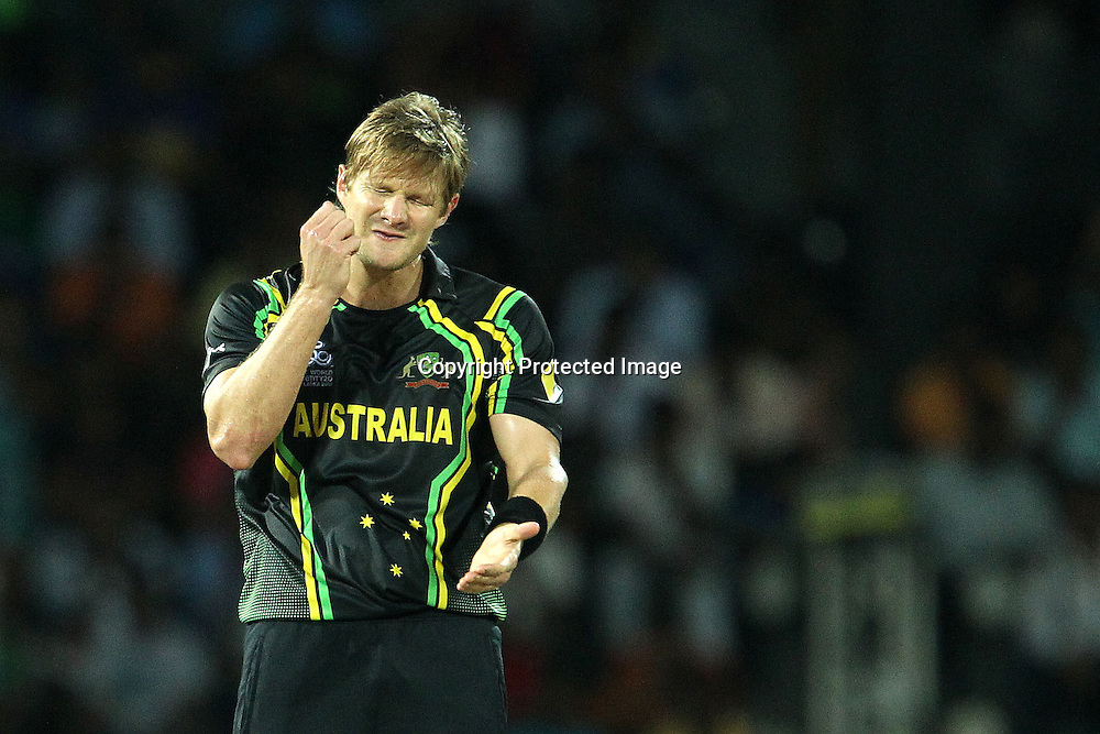 Shane Watson reacts after bowling during the ICC World Twenty20 Super 8s match between Australia and India held at the Premadasa Stadium in Colombo, Sri Lanka on the 28th September 2012<br /> <br /> Photo by Ron Gaunt/SPORTZPICS