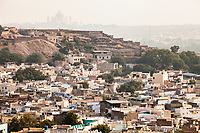 Looking across the city of Jodhpur, Rajasthan, India. I don't remember what that fort / palace was in the distance but it certainly looked impressive from where we were. We only had a single day in Jodhpur.