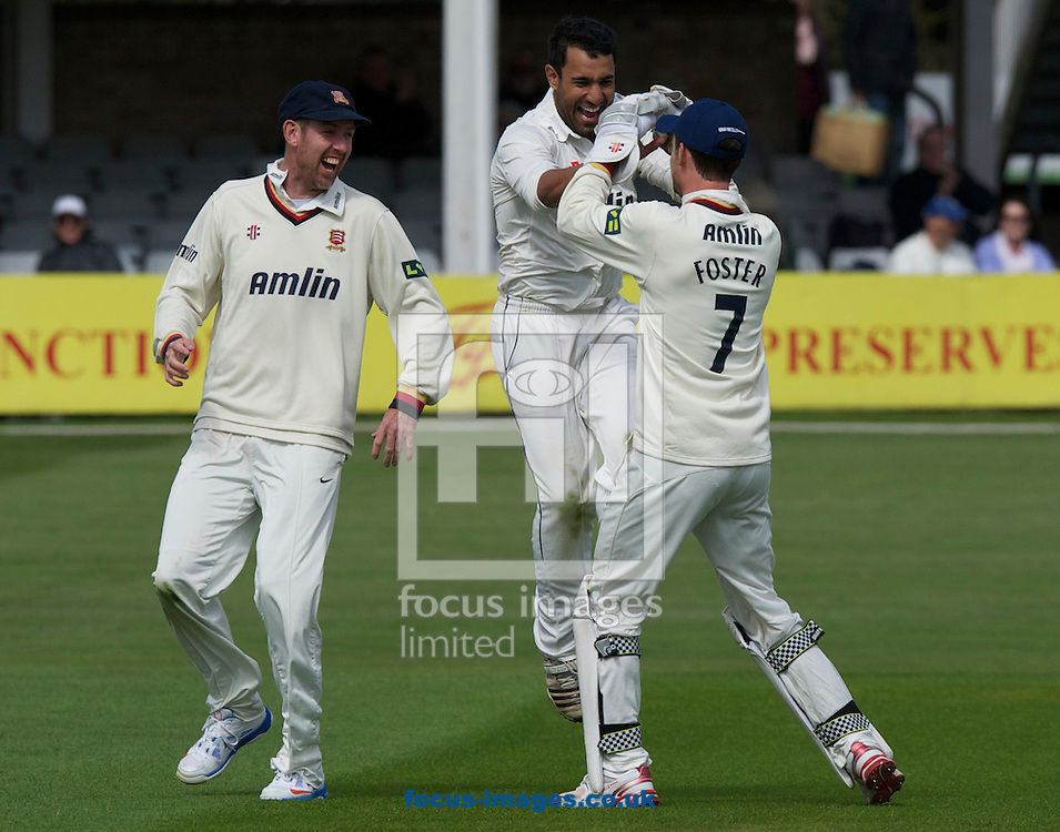 Picture by Alan Stanford/Focus Images Ltd +44 7915 056117.29/04/2013. Essex County Cricket Club players celebrate Christopher Wood's wicket of Hampshire County Cricket Club during the LV County Championship Div Two match at the County Ground, Chelmsford, Chelmsford..