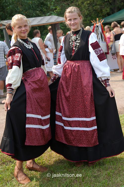 Young Women in Seto National Costume, Folk Festival Seto Kuningriigi Päev in Mikitamäe, Setomaa, Põlva County, Estonia, Europe