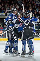 KELOWNA, CANADA -FEBRUARY 8: Axel Blomqvist #23 of the Victoria Royals celebrates a goal with teammates against the Kelowna Rockets on February 8, 2014 at Prospera Place in Kelowna, British Columbia, Canada.   (Photo by Marissa Baecker/Getty Images)  *** Local Caption *** Axel Blomqvist;