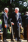 President Bill Clinton with James Baker during an event on the Chemical Weapons Ban treaty at the White House event April 4,1997 in Washington, DC.