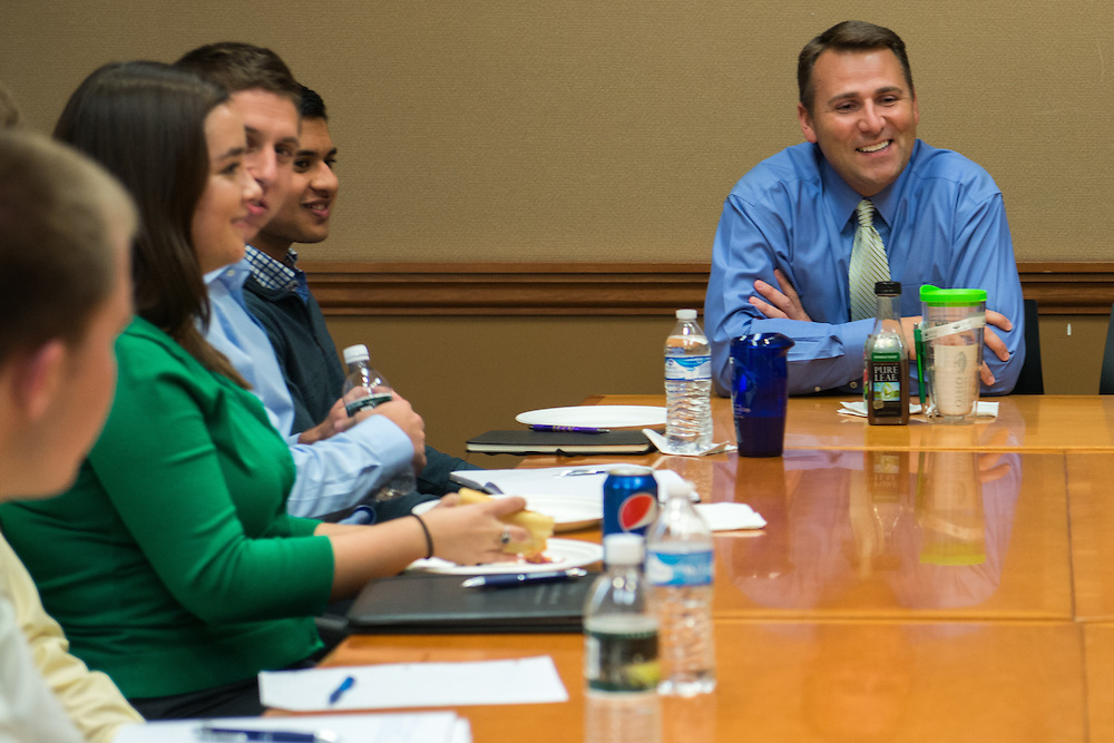 Ohio University College of Business alumnus, Bob Paxton, speaking to current students about his career as a executive talent recruiter on Wednesday, Oct. 21, 2015 at Baker University Center on the Ohio University campus in Athens, Ohio. © Ohio University / Photo by Joel Prince